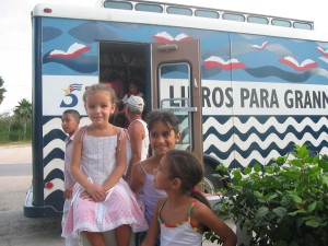 Children in front of bookmobile